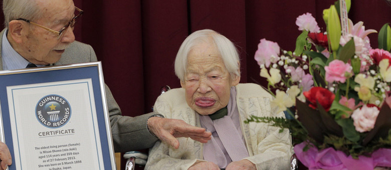 * Japonesa de 114 anos é reconhecida como a mulher mais velha do mundo.