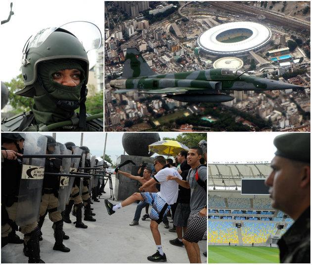 O Exército, a FAB (Força Aérea Brasileira) e a Guarda Municipal do Rio de Janeiro fizeram simulações de operações em terra e no ar nesta quarta-feira, no Rio de Janeiro, como preparação para a Copa das Confederações