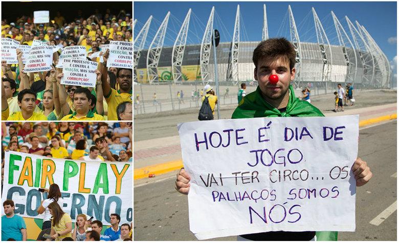 Os gastos para a realização da Copa do Mundo de 2014 viraram alvo das manifestações que se espalham pelo Brasil, sobretudo em frente aos estádios que recebem jogos da Copa das Confederações 2013