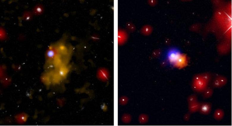 No lado esquerdo, é possível visualizar uma bolha de gás hidrogênio que aparece na cor amarela. Já no outro lado, direito, a luz azul é um buraco negro em crescimento