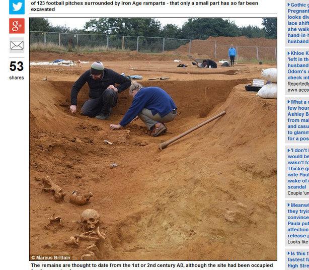 O local escavado, Ham Hill, é grande (maior que 120 campos de futebol)