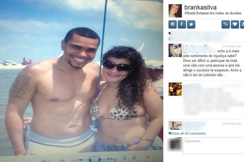 O ex-casal está brigando na Justiça por causa da pensão do filho, Pablo. Branka acusa Naldo de atrasar três meses de pensão, enquanto o cantor diz, por meio de sua assessoria de imprensa, que está em dia com suas obrigações