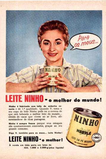 O tradicional Leite Ninho, quando foi lançado, tinha uma embalagem completamente diferente. Bem tradicional, sem nenhum desenho como é hoje. Quem não lembra?