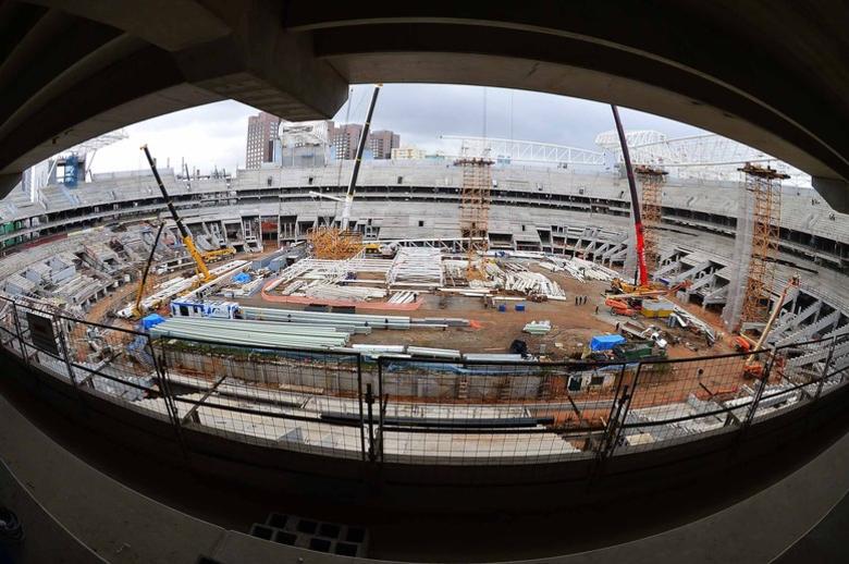 Cerca de um mês antes, o R7 marcou presença no Allianz Parque, o novo estádio do Palmeiras que, no dia da visita, contava com 65% das obras concluídas
