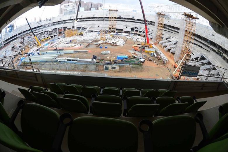 O estádio do Palmeiras ganhou mais um anel de arquibancadas para receber os torcedores...