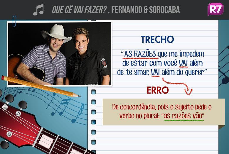 Que Cê Vai Fazer?, Fernando & Sorocaba: do álbum Homens e Anjos, lançado neste ano