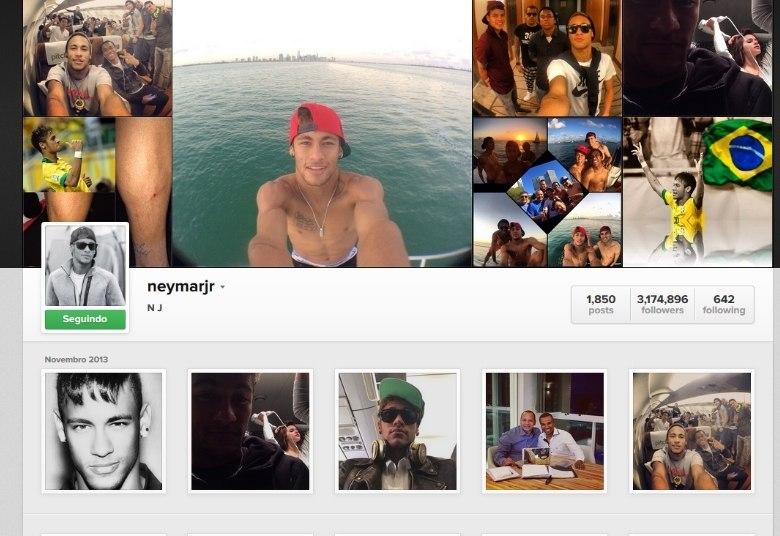 Neymar tem mais de três milhões de seguidores no Instagram em sua conta aberta: @neymarjr. Nela, o jogador do Barcelona divide momentos de sua rotina e posta fotos da namorada, Bruna Marquezine, dos seus amigos, dos bastidores do clube catalão, da família e muito mais