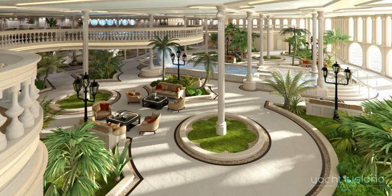 O interior doiate-Mônaco é um luxo. A foto acima mostra o que os designers chamam de 'Oasis', um jardim externo parecido com o  Casino de Mônaco. com cascata e piscina.Com 155 metros de comprimento, o iate comporta 16 convidados e  precisa de uma tripulação de 70 pessoas para navegar