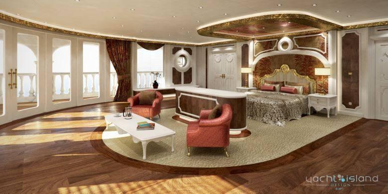 Um nível abaixo do 'Oasis' está o spa, que traz  piscina, bar, salão de beleza, suítes exclusivas para massagem e  sauna. Na foto acima, está uma das sete suítes VIPs. Cada uma tem a própria  recepção, banheiro, closet, escritório e sacada.A medida do quarto  varia de 135 m² a 356m²