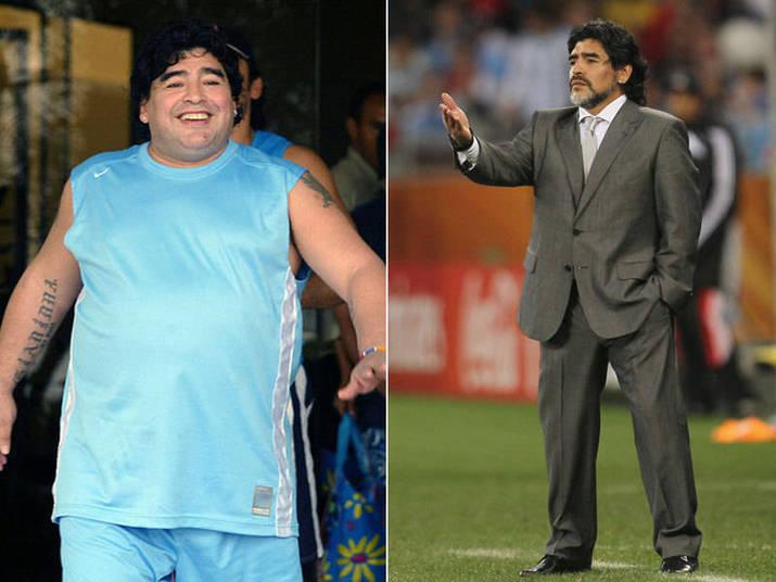 Maradona ganhou peso após encerrar sua carreira como jogador. Em 2005 ele passou por uma cirurgia de estômago e ficou fininho, fininho!
