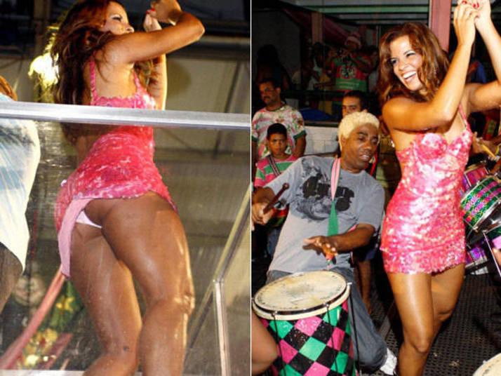 E o que dizer de Renata Santos, que ao sambar como rainha de bateria de uma escola de samba deixou a calcinha à mostra? Ivo Meirelles, que acompanhava a morena logo atrás, deu só uma abaixadinha e olhou para as curvas da bela que requebrou até o chão