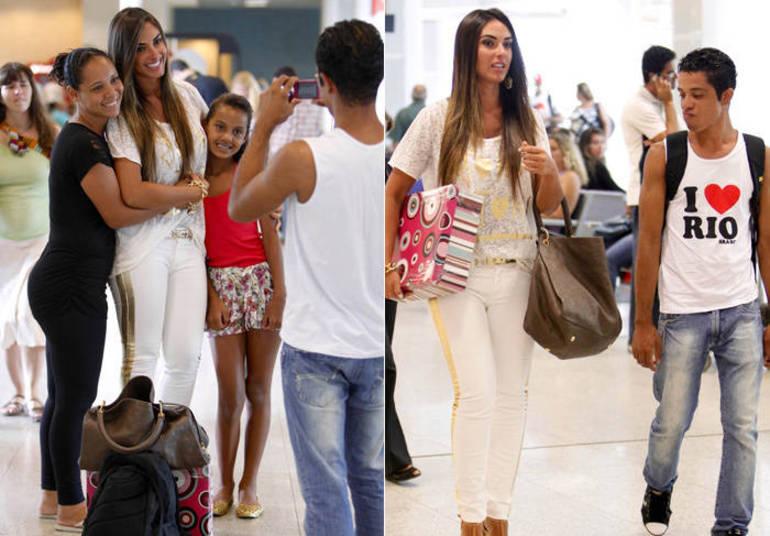 Nicole Bahls também foi vítima de uma olhada indiscreta enquanto se preparava para embarcar no aeroporto Santos Dumont, no Rio de Janeiro. Na foto à direita, o rapaz fez até 'bico' ao olhar Nicole de baixo para cima.E para não ficar feio, o moço depois acabou se declarando como fã e até pediu uma foto ao lado da ex-panicat
