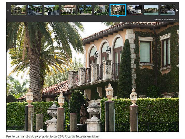 Segundo reportagem do site Lance.net, a mansão de Teixeira em Miami tem 1.324,36 metros quadrados, e foi comprada por cerca de R$ 1,8 milhão (US$ 924.400, em 1997, quando foi comprada)