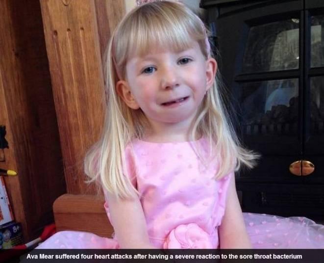 A pequena Ava Mear, de cinco anos de idade, sobreviveu após seu coração parar quatro vezes durante 45 minutos. A informação é do site Daily Mail desta quarta-feira (23)