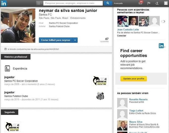 A página de Neymar anda um pouco desatualizada, mas o craque do Barcelona está lá. Ele aparece com a camisa do Santos, seu ex-clube, o que pode ser um indicio de que o perfil dele seja falso. Ou ele é apenas um preguiçoso e não atualizou a página desde que se mudou para a Europa