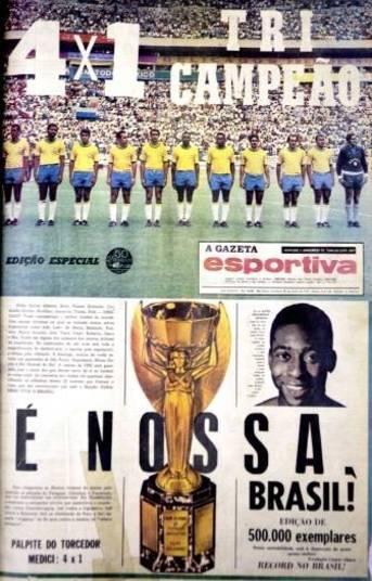 Um dos jogos mais badalados da história foi a goleada do Brasil por 4 x 1 sobre a Itália, em 21 de junho de 1970, quando a seleção canarinho se sagrou tricampeã. O jogo começou equilibrado, com gols de Pelé e Boninsegna, mas, no segundo tempo, o Brasil deslanchou e fez três gols, com Gérson, Jairzinho e Carlos Alberto Torres.'Eu pensei: 'Ele é feito de carne e osso como eu.' Eu me enganei', disse o zagueiro Tarcísio Burnich sobre Pelé.
