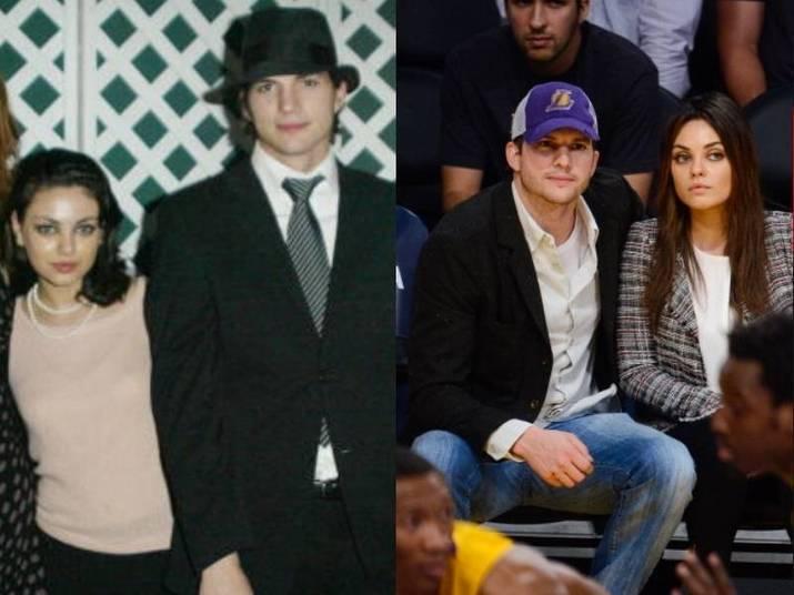 Ashton Kutcher e Mila KunisA amizade é antiga: Ashton e Mila se conheceram em 1998, quando faziam a sérieThat 70's Show, e até interpretavam um casal. Porém, na época não namoraram e voltaram a se aproximar em 2012, após o término do casamento dele com Demi Moore