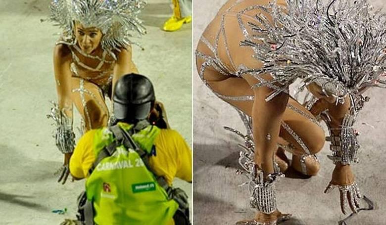 Já em 2001, Adriane Galisteu também viu o chão bem mais de perto. A apresentadora caiu bem na hora do desfile da Unidos da Tijuca, na Sapucaí. Ela, que era a rainha de bateria da escola, não fez feio e levantou-se rapidamente