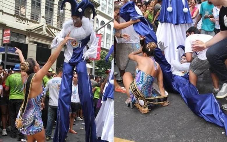 Lia Khey foi outra famosa que 'beijou o chão' no Carnaval. O tombo aconteceu em 2012, enquanto a ex-BBB desfilava no bloco da Preta Gil, que embalou foliões do Rio de Janeiro