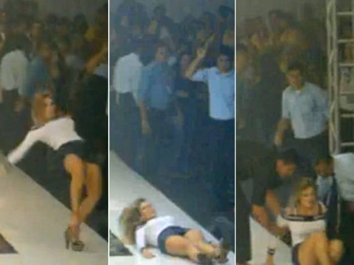 Sabão na passarela! Foi o que pareceu acontecer durante um desfile em Fortaleza, em que a ex-BBB Josi deslizou linda, linda na frente de dezenas de pessoas