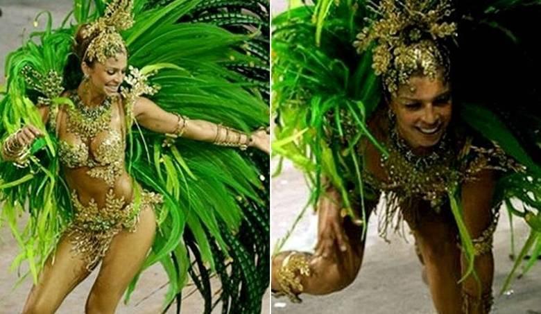 Grazi Massafera também teve seu dia. A atriz escorregou feio durante o desfile da Acadêmicos da Grande Rio, em 2007. Na época, a ex-mulher de Cauã Reymond era rainha de bateria da escola