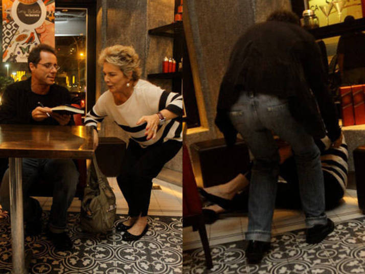 O joelhinho dobrado de Irene Ravache entrega que a atriz desabaria em instantes. A cena hilária aconteceu durante noite de autógrafos de um livro de Tony Bellotto