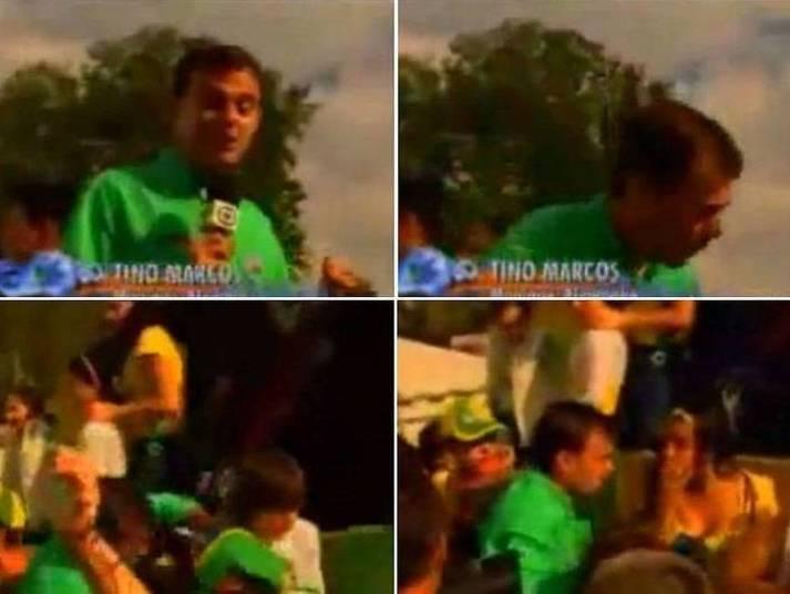 """Tino Marcos também tomou um capote daqueles! O jornalista caiu de cima de um caminhão, e em meio a uma galera, levando com ele um garotinho. O microfone, que continuou ligado, capturou a preocupação e o desespero do jornalista. """"Ai meu Deus, desculpa. Machucou?"""" Hahaha!"""