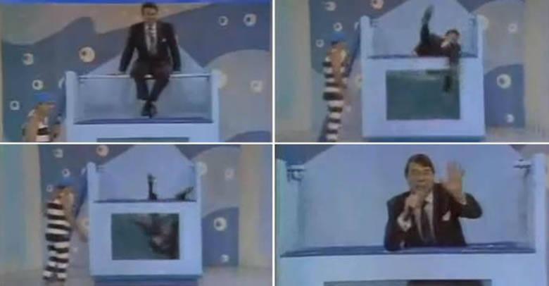 No programa Toda Tudo por Dinheiro, de 1992, Silvio Santos se deu mal! O apresentador caiu dentro de um tanque de água depois que a tábua onde ele estava sentado se quebrou
