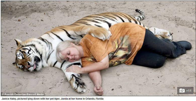 A cada dia ela alimenta os animais e faz carinhos em cada um deles de forma impressionante