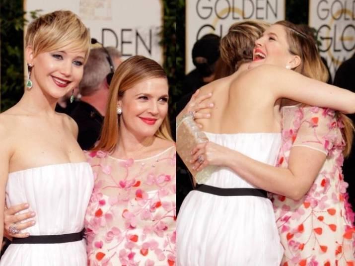 Jennifer Lawrence e Drew BarrymoreNinguém sabia que as duas eram tão amigas até Jennifer abraçar Drew durante o Golden Globes deste ano
