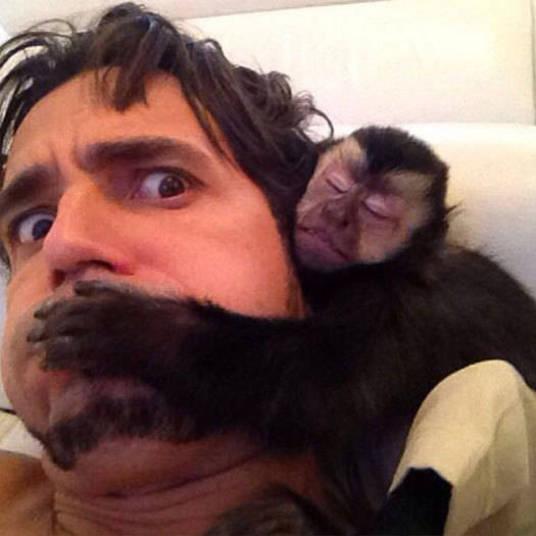 Durante sua participação no Roberto Justus + desta semana, latino levou um convidado pra lá de inusitado: Twelves, seu macaco de estimação+ Opine: Você teria um animal exótico em casa?