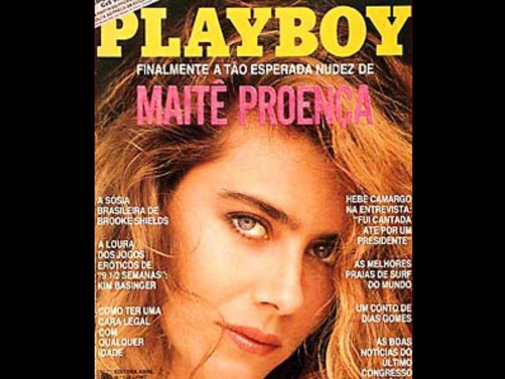 Maitê Proença (1987 e 1996)A loira já foi capa duas vezes da revista, Na primeira, aos 29 anos, sensualizou com uma foto em close. Na segunda vez, nove anos depois, posou em Sicília, na Itália