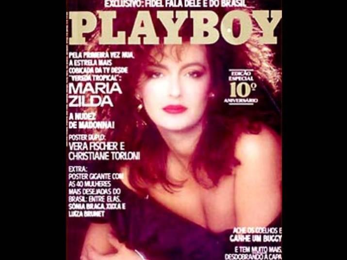 Maria Zilda (1985)Maria Zilda ganhou capa de duas páginas, comemorando 10 anos da Playboy no Brasil. Ela tinha 34 anos