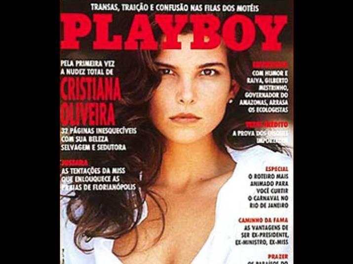 Cristiana Oliveira (1992)A gata estava séria na capa da Playboy. Na época, tinha 29 anos. Quase não mudou, não é?