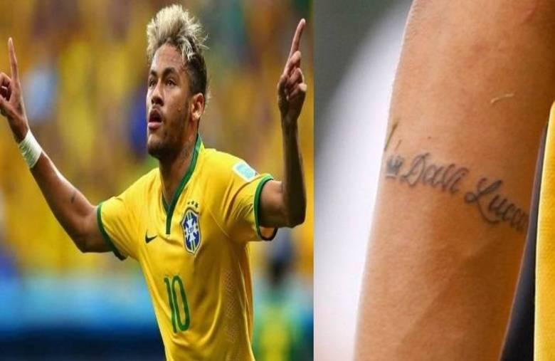 O atacante Neymar tatuou o nome do filho, Davi Lucca, no braço
