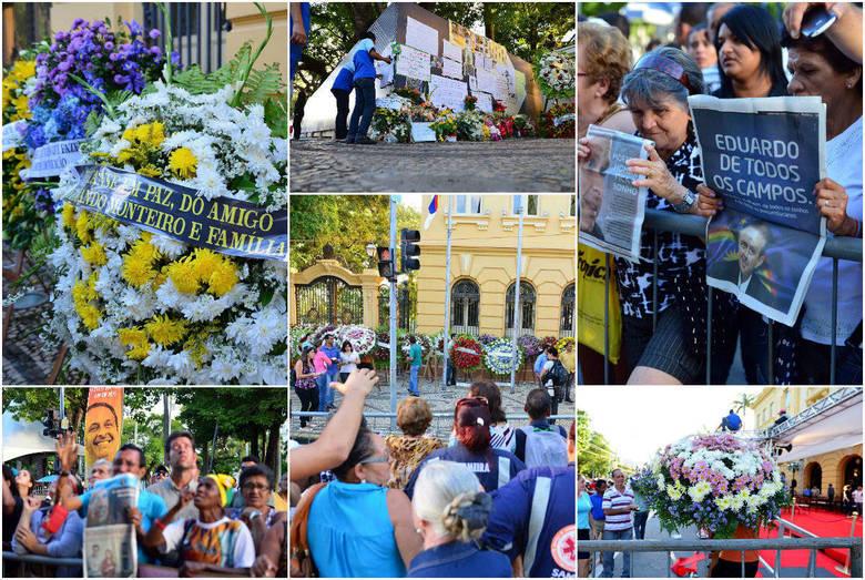 Público já se concentra nos locais do Recife por onde devem passar os restos mortais de Eduardo Campos. São esperadas cerca de 100 mil pessoas no velório do candidato