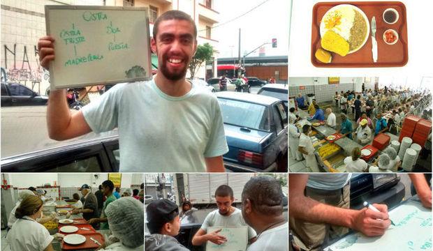 Escola da rua: professor dá aulas de filosofia na fila do Bom Prato