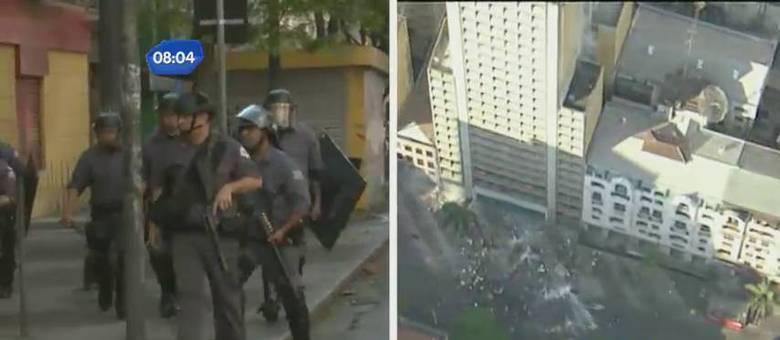 Sem-teto enfrentam Tropa de Choque e deixam policial ferido