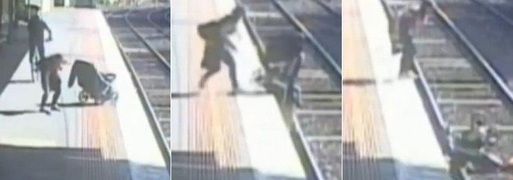 Mãe se distrai e deixa bebê cair nos trilhos do trem