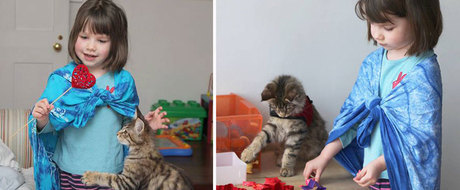 Menina autista faz terapia com ajuda de seu gato