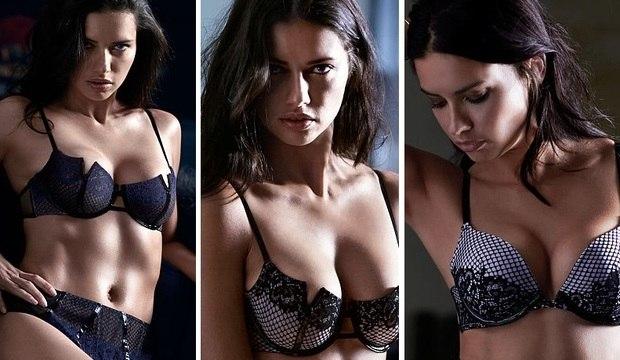 Adriana Lima é a estrela do catálogo de fim de ano de marca de lingerie