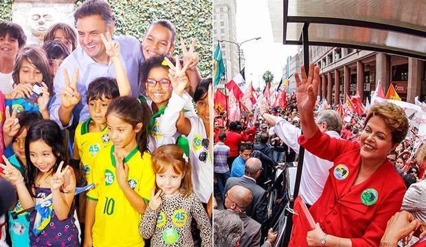 Veja como foi o último dia de campanha de Aécio Neves e Dilma Rousseff