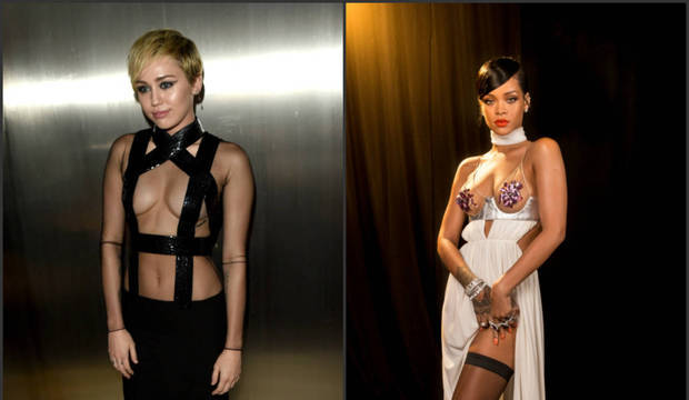 Rihanna e Miley Cyrus disputam os flashes pelo look mais ousado do baile