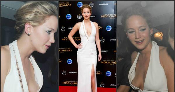 Sem sutiã, Jennifer Lawrence tropeça no decote e mostra demais ...