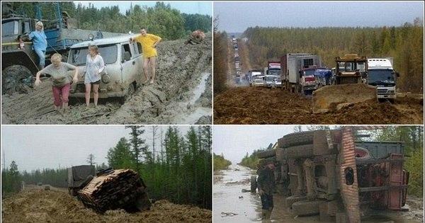 Estrada insana na Rússia atola até caminhões - Fotos - R7 Carros