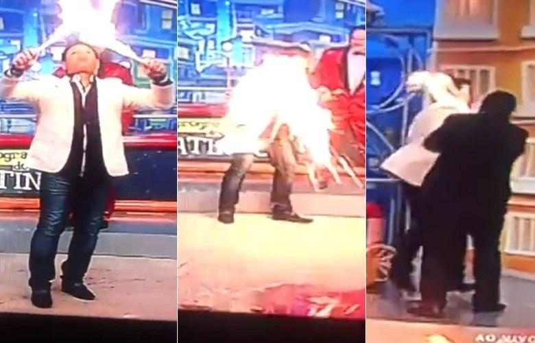 Acidente no palco: Luis Ricardo se queima ao vivo no 'Programa do Ratinho