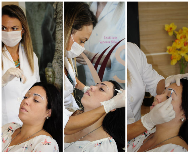 A primeira sessão foi iniciada com uma anestesia na região acima dos olhos. Em seguida, foi usado o aparelho despigmentador, que através das correntes elétricas remove a tatuagem. No final, a profissional aplicou um produto cicatrizante.