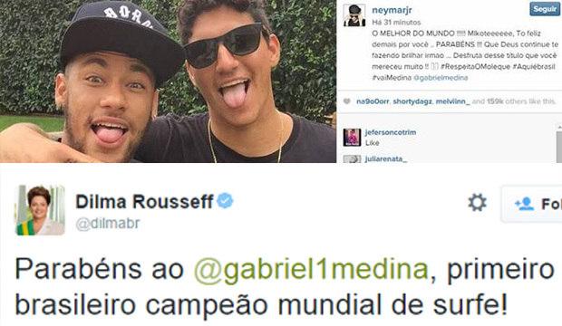Dilma, Neymar e outros famosos comemoram o título do surfista