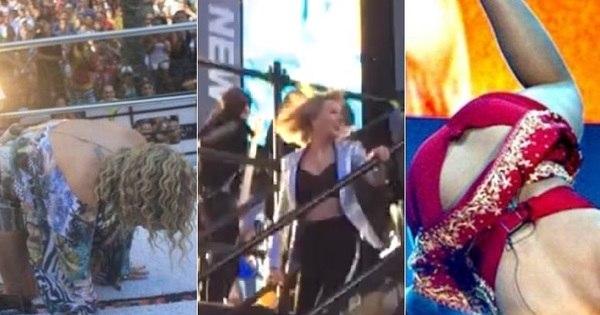 Taylor Swift escorrega durante show! Relembre os cantores que já ...