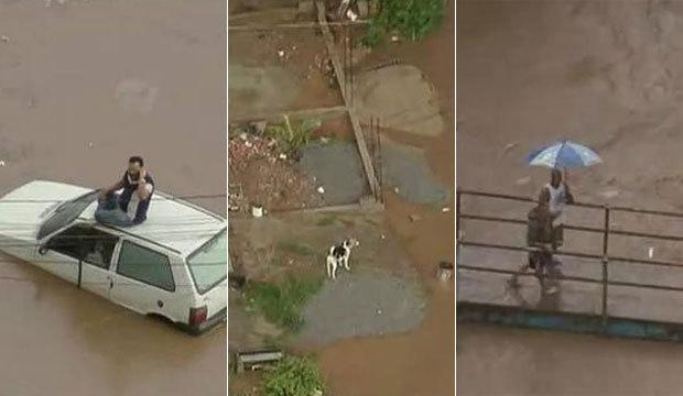 Chuva deixa carros cheios de água, isola cachorros e prejudica volta para casa. Veja